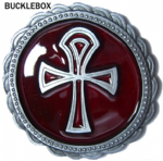 Amon Ankh-Cross (red) - Heavy Belt Buckle + display stand